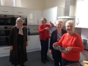 Joy, Teresa, Julia and Mary in the Church Hall Kitchen, happy in their ministry